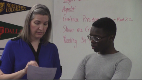 Freshmen Ike Johnson utilizes activity period to get one-on-one help from computer science teacher, Christine Peterson.